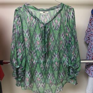 Sheer pattern green top with purple and pink